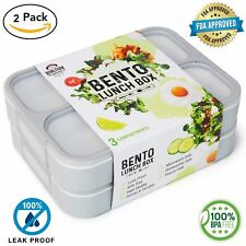 Deluxe Bento Lunch Box Set, 2 Leakproof Containers With 3 Compartments, FDA