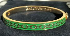 """HALCYON DAYS """"SKINNY CHAIN GREEN AND GOLD"""" BANGLE WITH BLACK VELVET POUCH. NEW"""