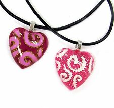 "Bff Heart Necklace with Black Necklace Choker 16"" + 2"" New with Gift Bag"