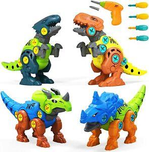 UTTORA Take Apart Dinosaur Toys, 4 Pack DIY Dinosaur Toys Set with Electric Dril