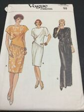 Vintage Vogue Pattern # 9620 Size 10 From 1986 Uncut Dress With Diagonal Inset