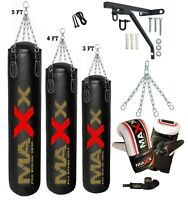 Punch Bag Boxing Set BLACK 3ft 4ft 5ft Heavy Filled Punchbag Gloves Bracket Gold