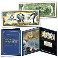 United States NAVY WWII Vintage Genuine U.S. $2 Bill in Large Collectors Display