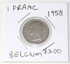 1958 BELGIAN 1 FRANC COIN