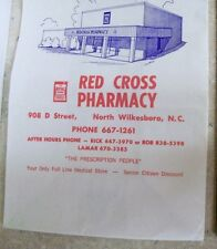 Advertising Paper Bag Red Cross Pharmacy North Wilkesboro NC  Drug Store Pharm