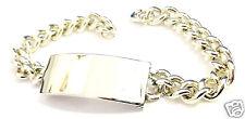 Breites schweres Silberarmband 835 er Silber mit Platte zum Gravieren