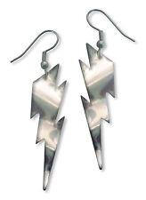 Lightning Bolt Earrings Polished Silver Dangle #986