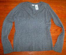 Women's Juniors NO BOUNDARIES Gray Grey Cotton V-Neck Sweater Size XL 15 / 17