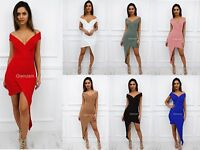 Glamzam New Womens Ladies Off Shoulder Sweetheart  Asymmetric Bodycon Dress