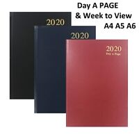 2020 Diary A4/A5/A6 Week To View/Day Per Page Diary Hardback Cover Office & Desk