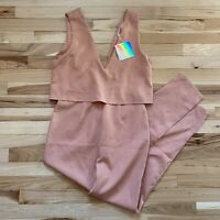 NWT Missguided Womens US Size 6 Light Pink Crepe Double Layer Jumpsuit