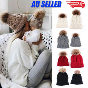 Women Mom Mother Baby Girls Boys Knit Winter Warm Wool Pom Bobble Hat Beanie Cap