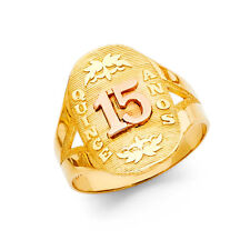 Anos Quinceañera Birthday Fancy Ring Band Girl 14k Yellow Rose Real Gold 15