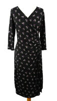 M&S Size 14 Black Purple 3/4 Sleeve Ruched Crossover Midi Dress Autumn Winter