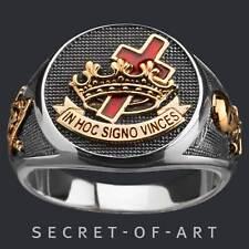 Tempelritter Ring Knights Templar Kreuzritter Freimaurer Masonic 925 Silber