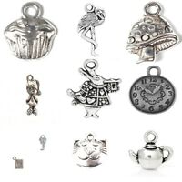 10 x Tibetan Silver Mixed Pendant Charms Alice In Wonderland