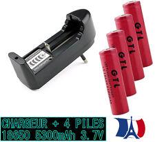 4 PILES ACCUS 3.7V 5300mAh Pile Rechargeable Li-Ion Batterie (10A) + CHARGEUR FR