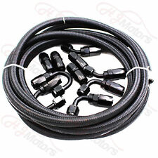AN6 Nylon Stainless Steel Braided Fuel Hose End Fuel Adapter Kit Oil Line 16FT