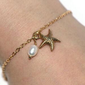 Womens Gold starfish Bracelet Bangle Pearl Fashion Bracelet Jewelry Lady Girls