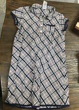 Gymboree Girls' Sz Large 5 Years Shirt Dress Navy Blue Red Plaid 100% Cotton Euc