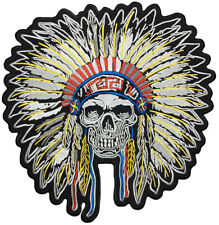 Chief of the Dead Indian Embroidered Iron On Patch Retro Halloween Rockabilly