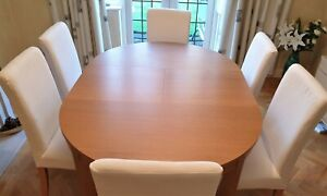 Ikea Bjursta Round Extendable Dining Room Table & 6 Henriksdal Chairs & Covers