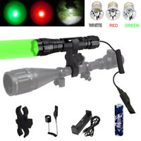 Tactical Hunting Flashlight Torch Blue/Red/Green/UV/White LED Light Lamp Charge