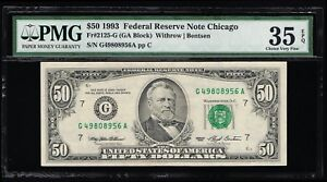 AFFORDABLE GENUINE FR #2125-G WITHROW BENTSEN PMG GRADED CVF 35 EPQ FRBN CHICAGO