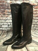 Botticelli Italian Tall Leather Knee High Boots, Dark Chocolate, Size 38