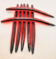 "5"" Custom Red Shell with Black Core Shot Senko Style Worms 25pk"