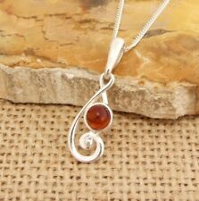 Small Cognac Baltic Amber Treble Clef 925 Sterling Silver Pendant Necklace