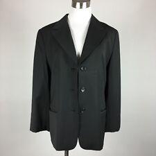 Ann Taylor Loft Womens Blazer Size 12 Black 3 Button Slit Pockets Wool Blend