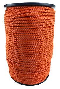 6mm Orange Braided Polypropylene Poly Rope Cord Paracord Drawstring Sailing