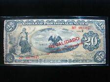 MEXICO VERACRUZ 20 PESOS 1914 REVALIDADO CHOP MEXICAN 947# Bank Money Banknote