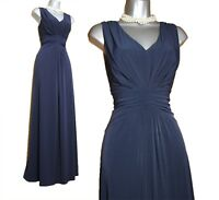 UK 12 Jacques Vert Navy Jersey KATE V Neck Ruched Waist Cocktail Maxi Dress 40