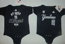 2) New York Yankees MLB Baseball Shirts Snaps Body Suit #2 Jeter Sz 6/9 Mon NEW