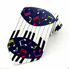 Piano Notes Mens Neck Tie Music Blue Necktie Keys Musical Instrument Pianist New
