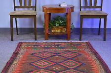 4x9 Oriental Vintage Hand Knot Geometric Multicolor Wool Runner Kilim Area Rug