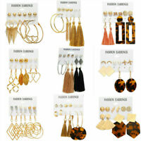 4/5/6Pairs Chic Women Crystal Tassel Circle Hoops Earrings Set Ear Stud Jewelery