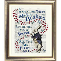 BONKERS QUOTE Alice in Wonderland ART PRINT BOOK PAGE Dictionary White Rabbit