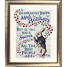 ART PRINT ORIGINAL ANTIQUE BOOK PAGE Dictionary Alice in Wonderland White Rabbit