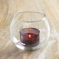2 x Glass Bowl Purple Tea Light Candle Holders Home Decoration Dining Table