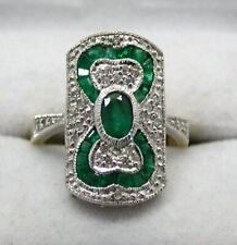 Stunning 18 Carat Gold Emerald And Diamond Dress Ring Size L.1/2