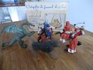 4 figurines chevaliers dragon cerbère PAPO et maquette catapulte bois Leo vinci