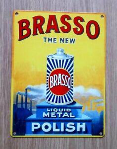 BRASSO RETRO METAL ADVERTISING SIGN 20cm x 15cm (BRAND NEW)