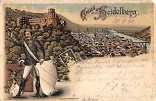 Heidelberg Germany Soldier Uniform Birdseye View Scenic Antique Postcard K18874