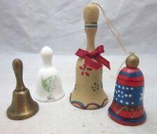 4x vintage bells. Brass, wood & porcelain May bell