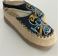 Mens Retro Chinese Style Beijing Opera Slip On Espadrille Loafers Slippers 6751