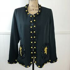 Victor Costa Occasion Black Blazer Jacket Gold Colored Buttons New Women Small