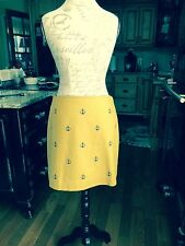 Vineyard Vines Gold Skirt With Navy Anchors.  Fully Lined.  Size 6